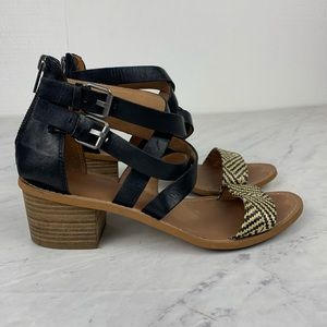 Madewell Lora Black Leather Block Heel Sandals